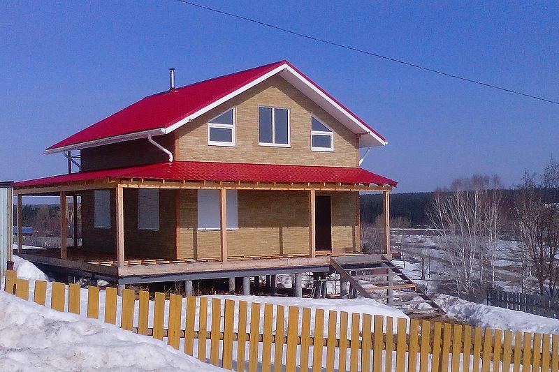 Каркасный двухэтажный дачный дом 7х7 с